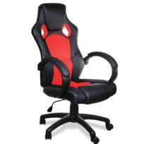 Rocambolesk - Superbe Fauteuil de bureau rouge et noir baquet voiture simili cuir chaise réglable Neuf