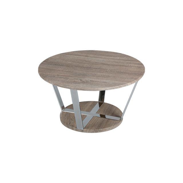 Table basse ronde 80cm en acier et plateau bois Scott