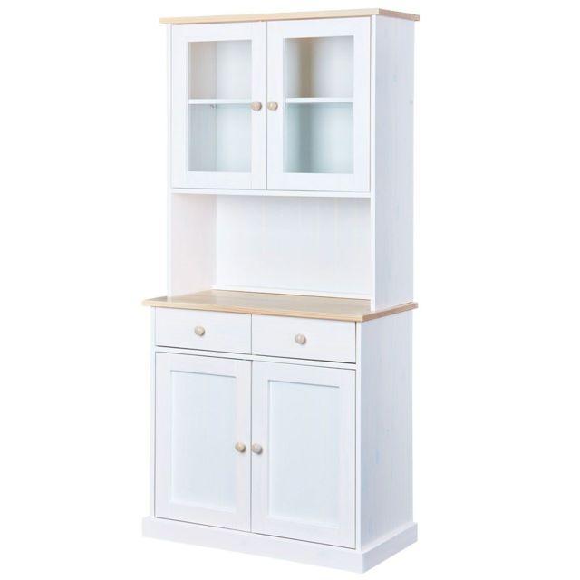 vaisselier blanc pas cher Altobuy - Manaus - Buffet Vaisselier 4 Portes 2 Tiroirs Blanc