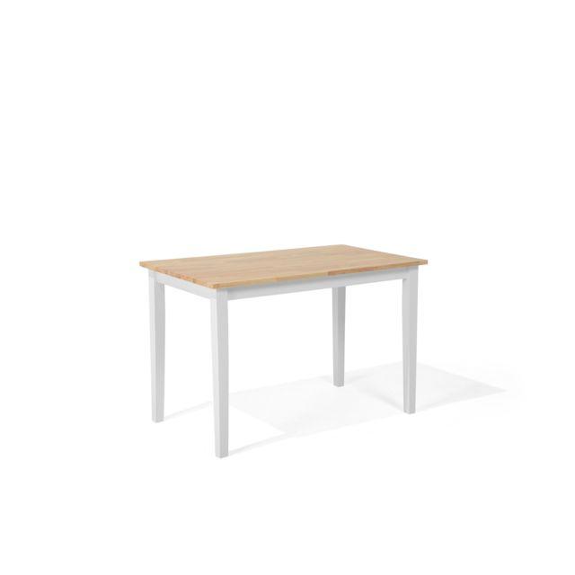BELIANI Table à manger en marron - blanc 114 x 68 cm GEORGIA - blanc