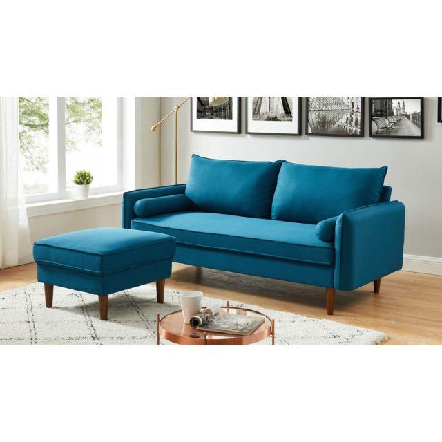 HOMIFAB Canapé d'angle modulable 3 places en tissu bleu canard - Collection May