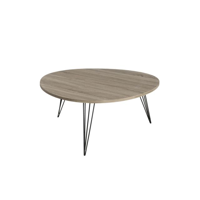 MACABANE Table basse ronde 90 x 90 cm pieds métal