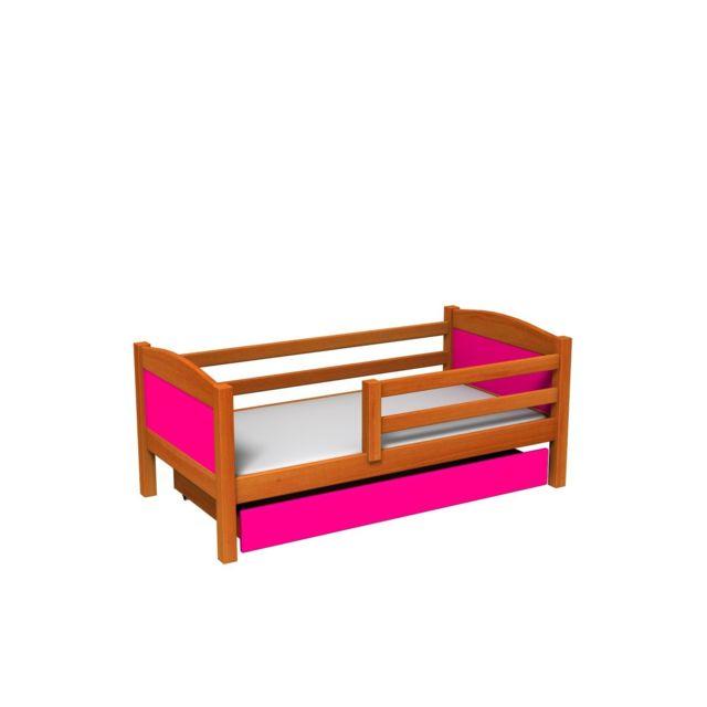 mpc lit avec tiroir et matelas en pin aulne panneaux roses sebpeche31. Black Bedroom Furniture Sets. Home Design Ideas