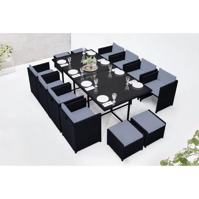 Bobochic - Salon de jardin family 12 Noir/Gris Noir Gris ...