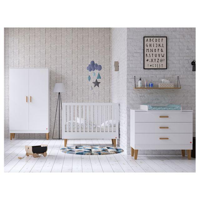 Vox Chambre complète lit bébé 60x120 - commode à langer - armoire 2 portes Lounge - Blanc