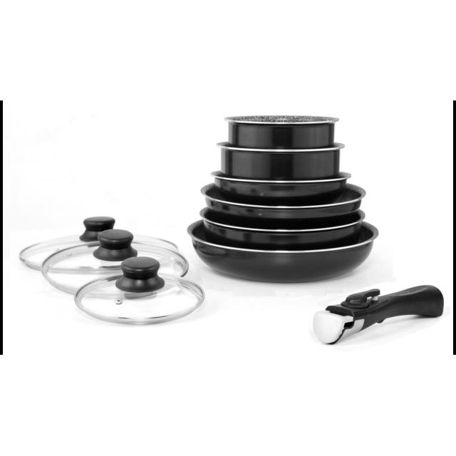 ARTHUR MARTIN Batterie 10 pcs - Aluminium - Revêtement anti-adhérent - Manche amovible - Induction