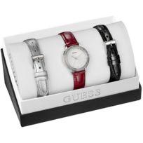 Guess - Promo Coffret W0654L1 - Montre Rouge Cuir Femme