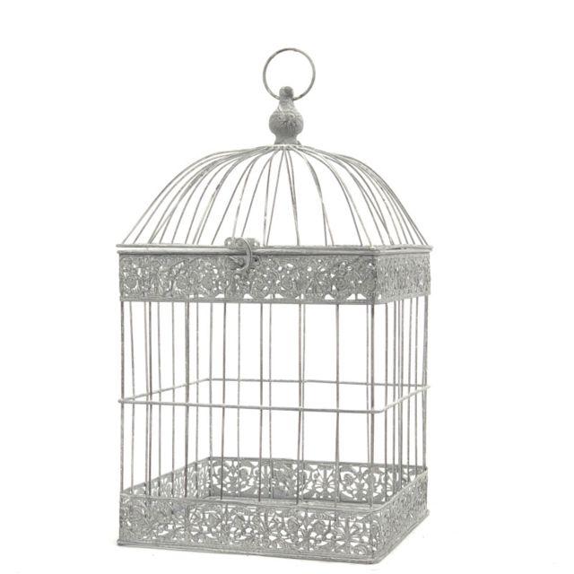 L'ORIGINALE Deco Cage Oiseaux Bougie Carré Gris 54 cm x 29 cm x 29 cm