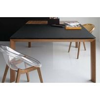 Inside75 - Calligaris Table repas extensible Sigma Glass 140x140 en verre noir piétement bois