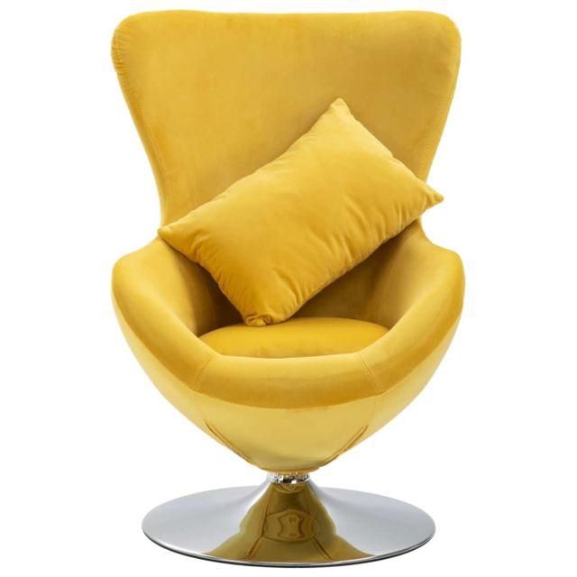 Icaverne Fauteuils club, fauteuils inclinables & chauffeuses lits ligne Fauteuil pivotant en forme d'œuf avec coussin Jaune Velours