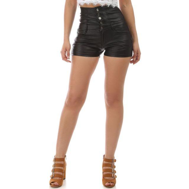 Lamodeuse - Short noir taille haute en simili