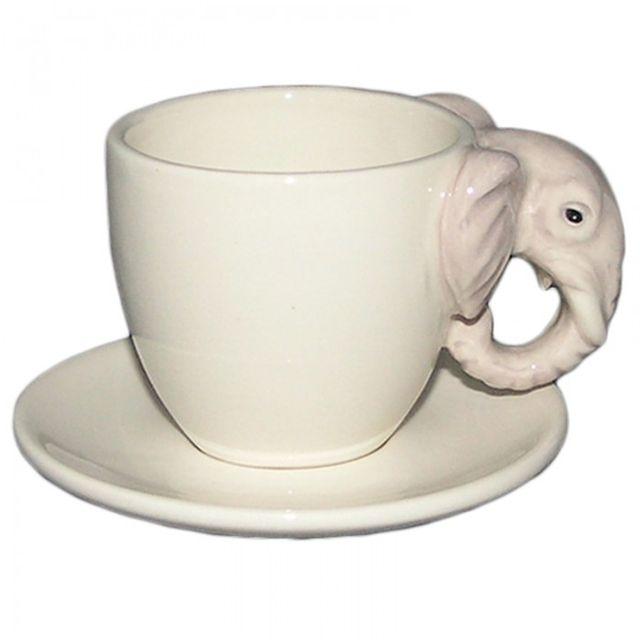 Sans Marque Tasse à café anse en forme d'éléphant