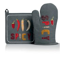 Les Ateliers Du Linge - Gant + Manique Spicy Gris 18 X 28