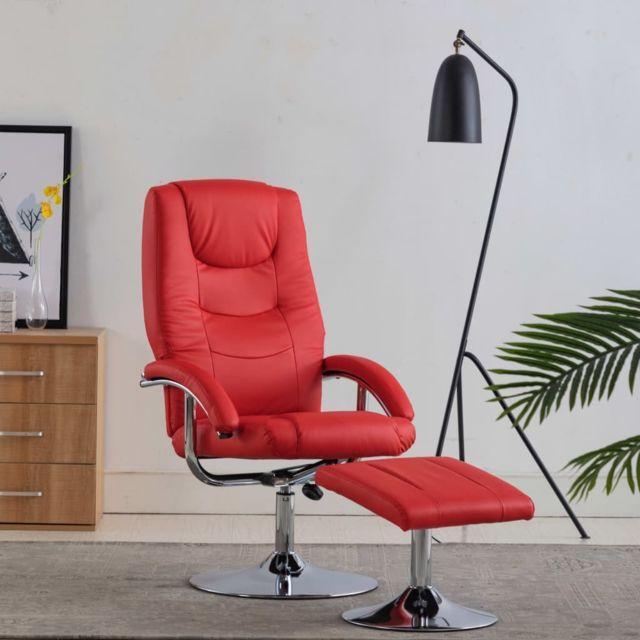 Inedit Fauteuils et chaises categorie Lisbonne Fauteuil inclinable avec repose pied Rouge Similicuir