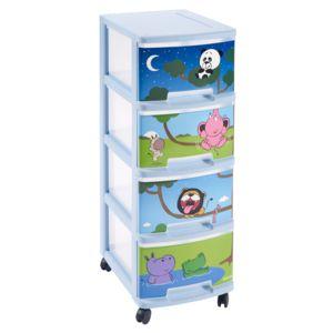 curver tour de rangement d co motif animaux 4 tiroirs happy animals pas cher achat vente. Black Bedroom Furniture Sets. Home Design Ideas