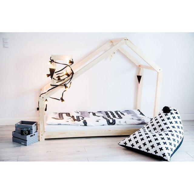 monlitcabane lit cabane bois massif sommier 160x200 bois naturel 160cm x 200cm pas cher. Black Bedroom Furniture Sets. Home Design Ideas