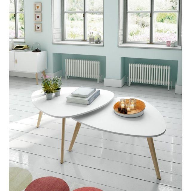 Ma Maison Mes Tendances Lot de 2 tables basses en bois laqué blanc semi-mat et chêne Twinny - L 100 x l 50 x H 40