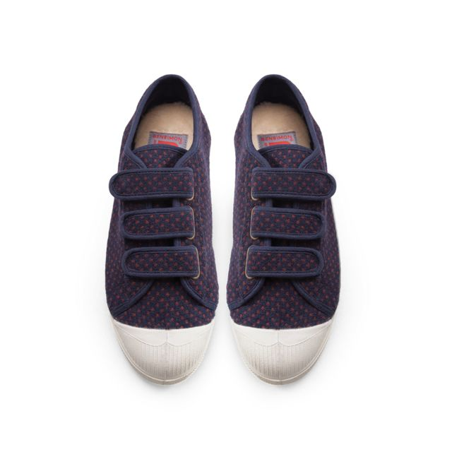 BENSIMON - Tennis à scratch- Pois lainage - Navy - pas cher Achat ... 8945cdc85344
