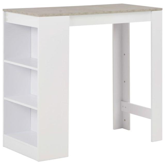 Tables ensemble Amman Table de bar avec étagère Blanc 110x50x103 cm