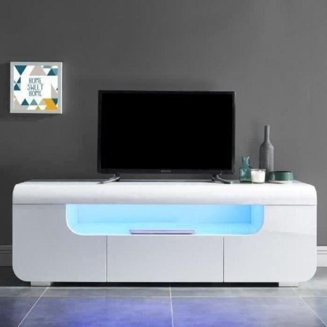 MEUBLE TV - MEUBLE HI-FI MIAMI Meuble TV avec LED contemporain laqué blanc brillant - L 150 cm