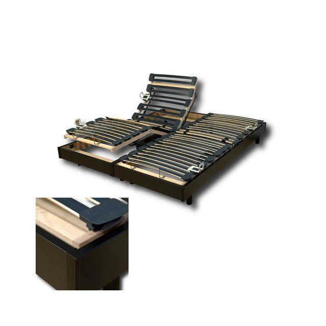 no name ensemble 2 sommiers relaxation lectrique flexpur 80x200 t te et pied relevable noir. Black Bedroom Furniture Sets. Home Design Ideas