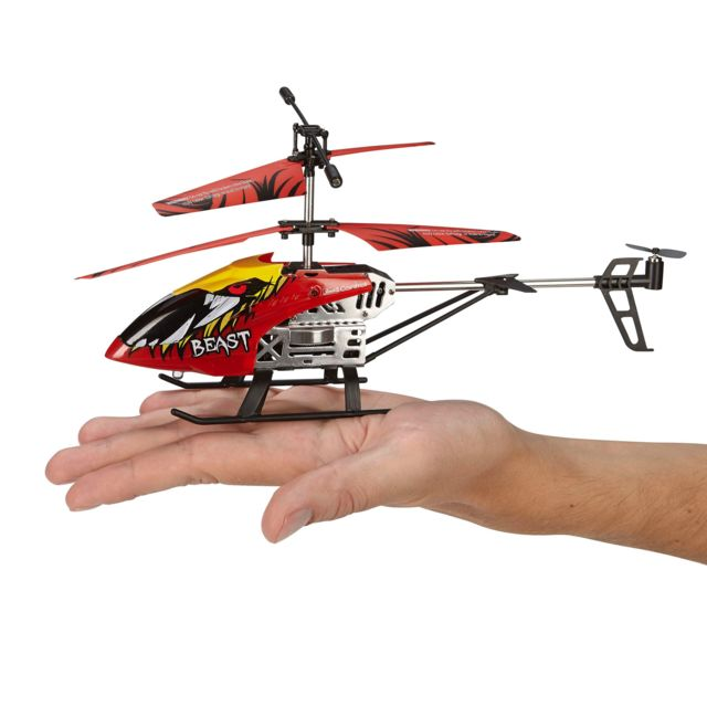 """REVELL Helicoptère """"BEAST Hélicoptère de 26 cm avec radio 2,4 GHz 3 voies pour voler en intérieur et extérieur. Led animées et racharge facile via un câble USB fourni"""