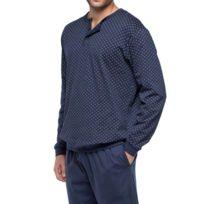 Guasch - Pyjama long en coton forme jogging : sweat col tunisien bleu marine à motifs et pantalon bleu marine