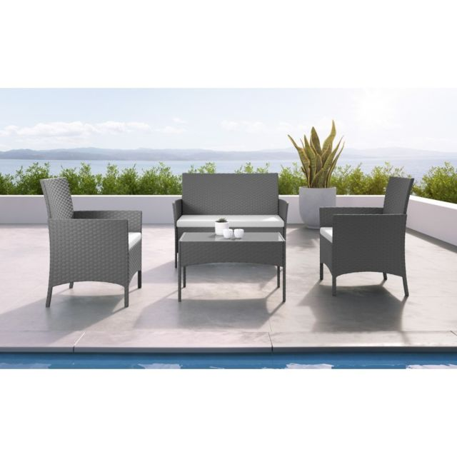 Ims Garden Imora - Salon de jardin résine tressée Gris/ecru - ensemble 4 places - Canapé + Fauteuil + Table
