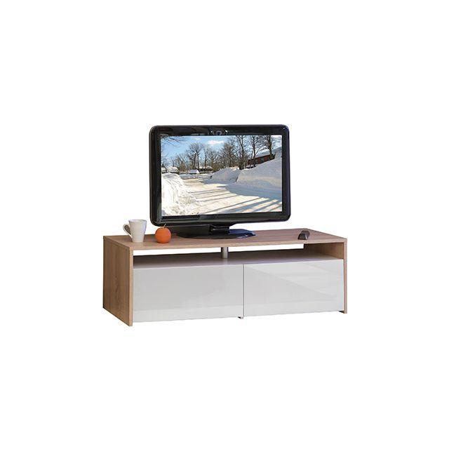 Meuble tv blanc chêne 2 tiroirs - blanc laqué