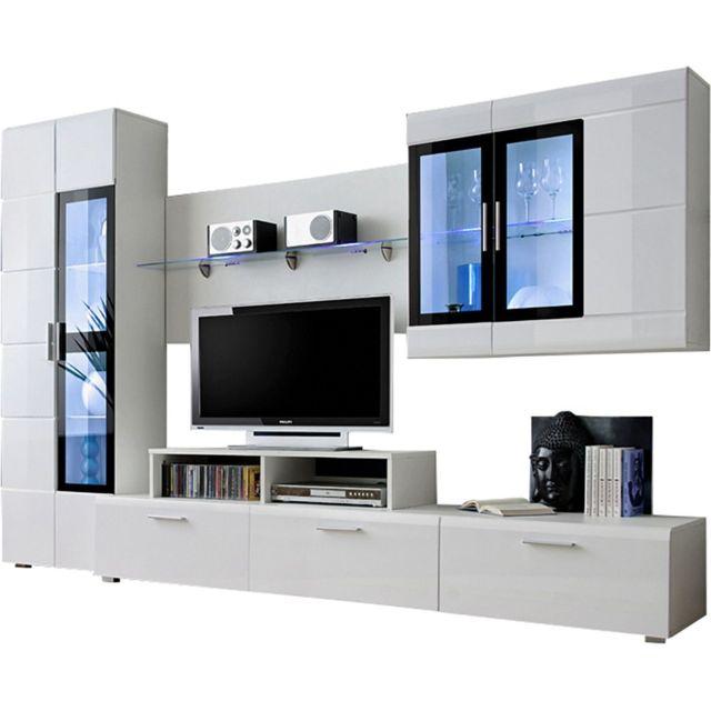 bas prix ec3d9 0f87e Ensemble mural 270 cm avec meuble TV + 2 vitrines + support TV LED et 1  étagère coloris blanc C-Vito