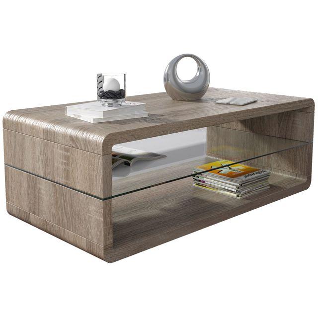 comforium table basse sonoma fonc 120 cm avec plateau en verre c pascale 120cm x 42cm x 120cm. Black Bedroom Furniture Sets. Home Design Ideas