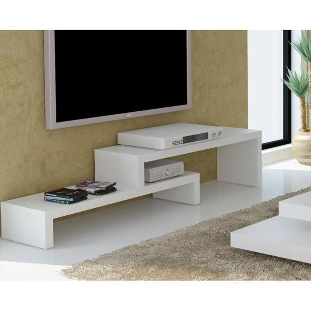 Inside 75 Cliff 120 meuble Tv laque blanc mat design