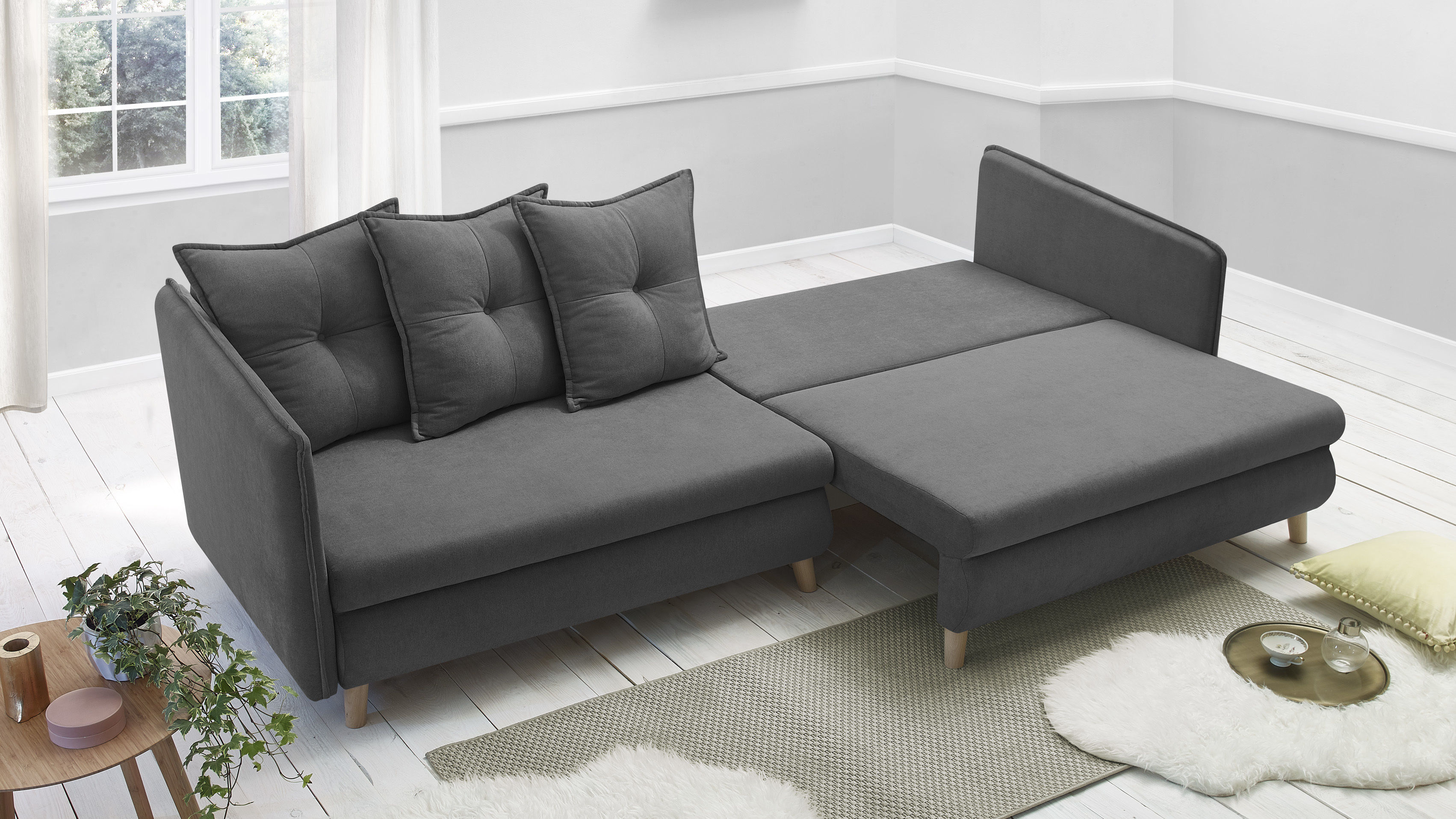 bobochic canap opti sofa 4 places convertible gris fonc 103cm x 77cm x 264cm achat. Black Bedroom Furniture Sets. Home Design Ideas
