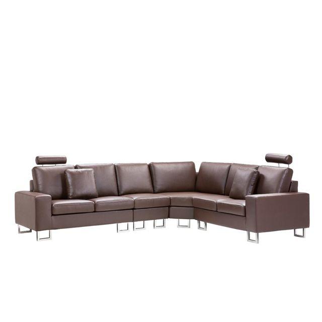 BELIANI Canapé angle à gauche en cuir marron STOCKHOLM