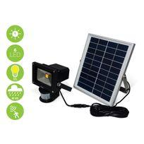 Alice'S Garden - Projecteur puissant 5W Led solaire 550 lumens, blanc chaud à détecteur de mouvements, luminaire extérieur résistant à l'eau, batterie lithium 4000mAh, spot autonome à recharge solaire, lampe murale détection, équivalent 50W