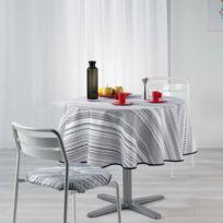 Douceur D'INTERIEUR - Cdaffaires Nappe ronde 0, 180 cm polyester imprime analea Noir/Blanc