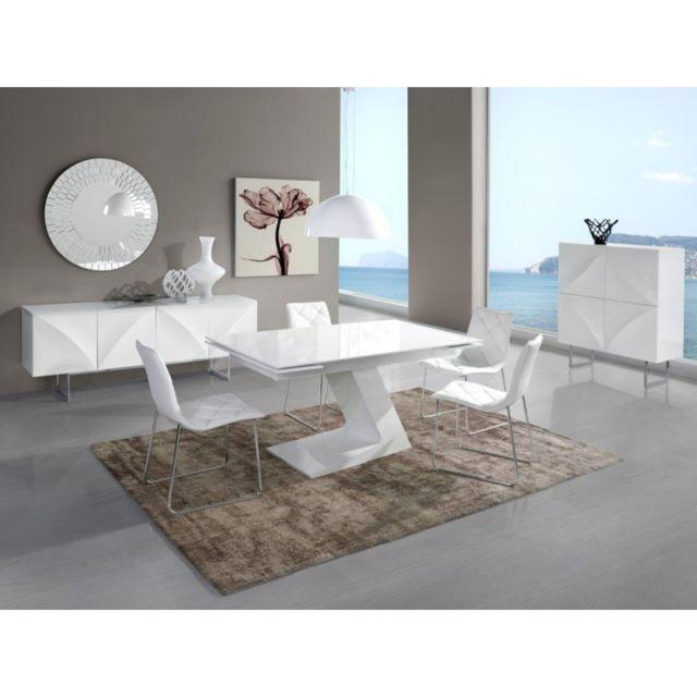 Ma Maison Mes Tendances Table à manger rectangulaire extensible 160-220cm en bois laqué blanc Apus - L 160 x l 90 x H 76