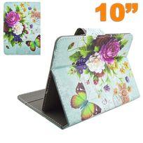Yonis - Housse universelle tablette 10 pouces étui support fleur papillon