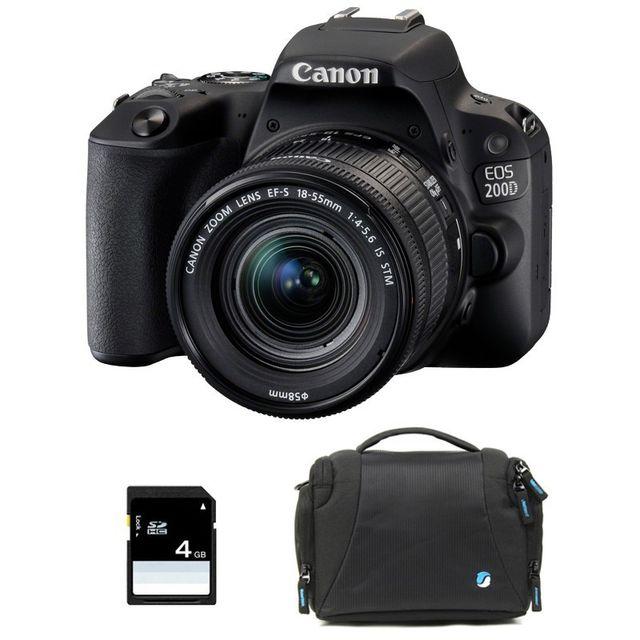 Canon Eos 200D + Ef-s 18-55 mm f/3.5-5.6 Is Stm Garanti 3 ans + Sac + Carte Sd 4Go