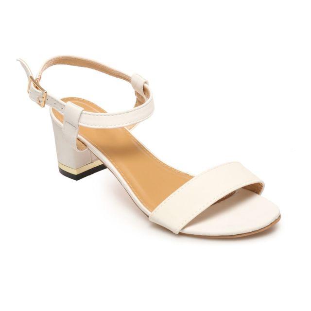 nouveaux produits chauds réduction jusqu'à 60% détaillant La Modeuse - Sandales blanches à petit talon carré - pas ...