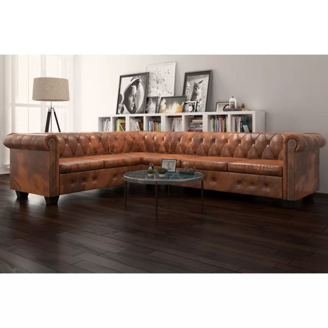 Superbe Meubles famille Islamabad Canapé d'angle Chesterfield 6 Places Cuir artificiel Marron