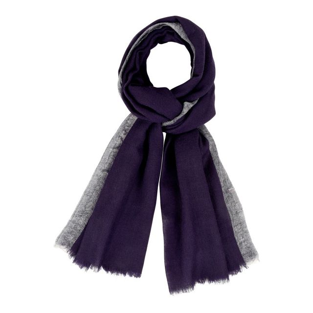 5e3a4cb2803c Les Poulettes Bijoux - Echarpe 100% Laine Bleu Navy Bordure Lurex Argent - pas  cher Achat   Vente Echarpes, foulards - RueDuCommerce