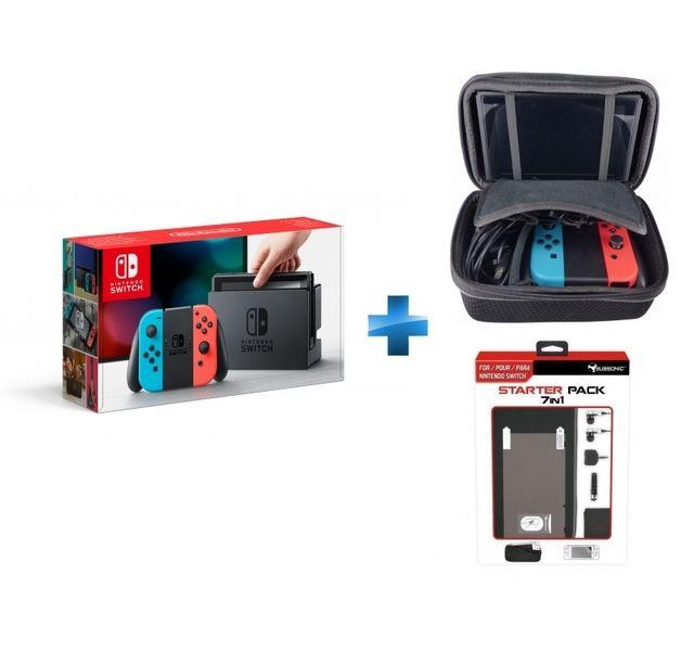 NINTENDO - Switch avec paire de Joy-Con rouge et bleu + malette de rangement + pack d'accessoires 7 en 1
