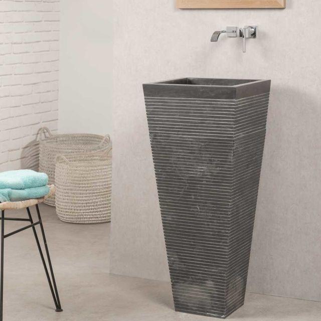 Wanda Collection - Vasque salle de bain sur pied en pierre carré ...