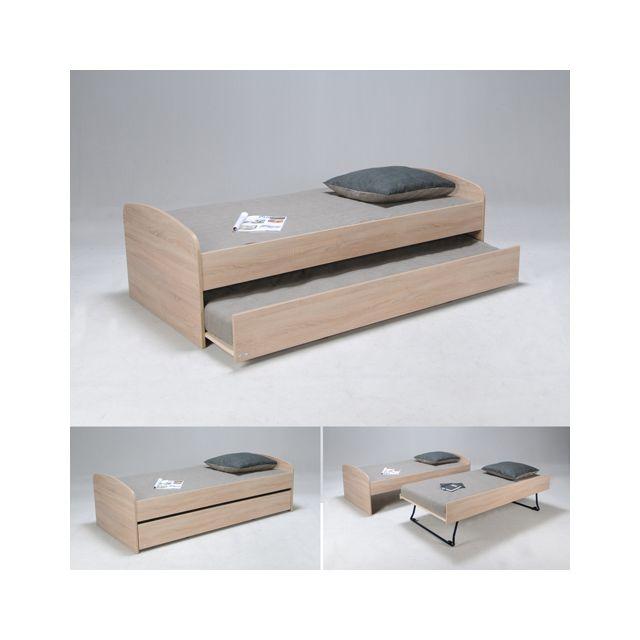 no name lit gigogne swing 90x190 2 matelas m moire de forme 2 sommiers ch ne blanchi. Black Bedroom Furniture Sets. Home Design Ideas