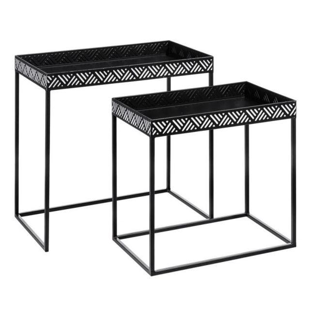 Tousmesmeubles Duo de Tables gigognes Métal Noir/Blanc - Africa