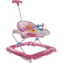 Sun Baby - Trotteur interactif avec poussoir et volant pour bébé 6-12 mois   Rose