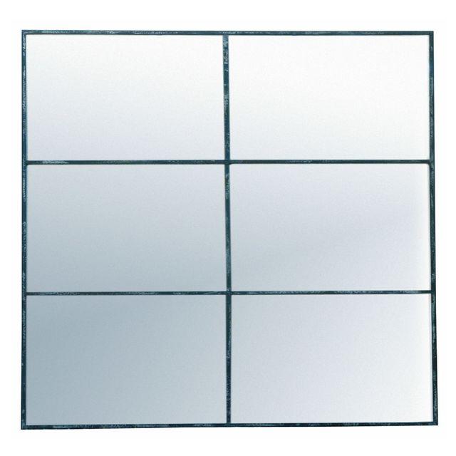 Pomax Miroir fenêtre rectangulaire en métal 80x118cm Factory - Noir Antique
