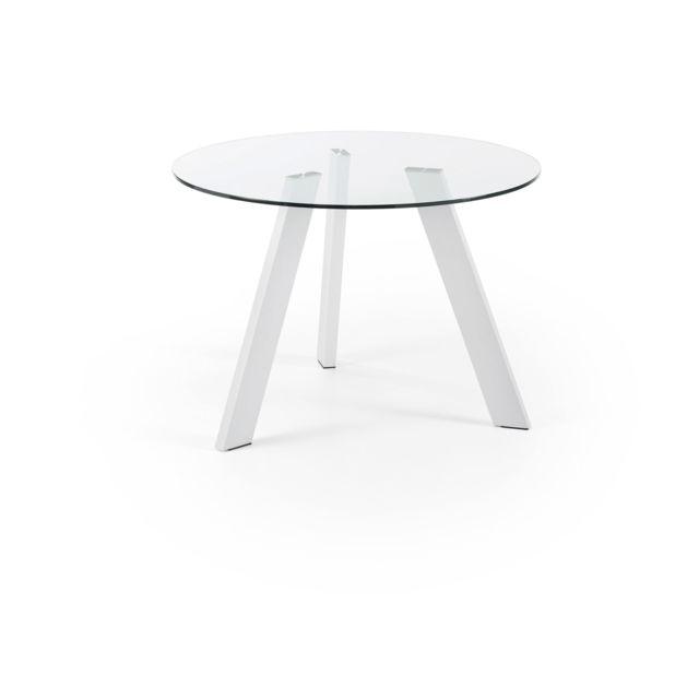 Kavehome Table Carib 110 cm, blanc et verre