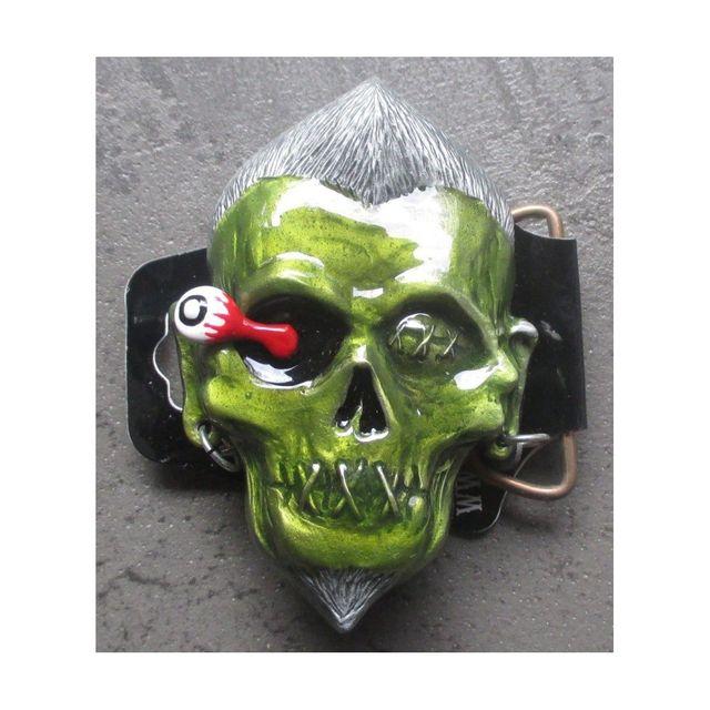 Universel - Boucle de ceinture Lucky 13 zombie vert rockab homme punk 4db4042d293
